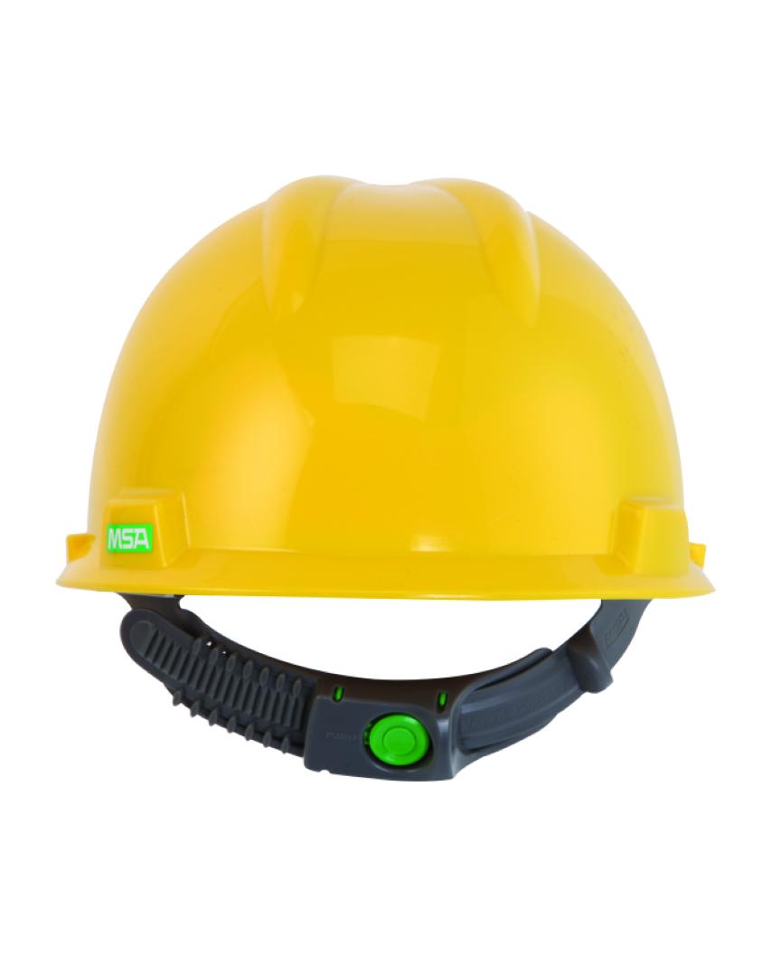 Elmetto V-Gard giallo con bardatura Push-Key MSA