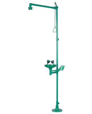 Doccia emergenza a pavimento con lavaocchi 1100/370 verde